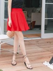 純色雪紡高腰縮腹波浪褲裙