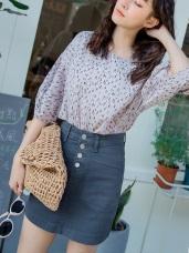 高含棉排釦造型口袋A字短裙