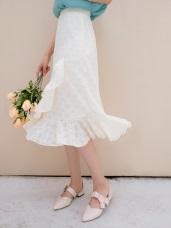 層次感荷葉拼接純色蕾絲中長A裙