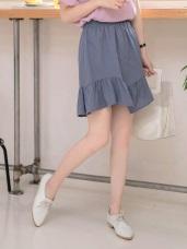 腰鬆緊魚尾裙襬拼接純色短裙