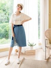 高含棉排釦打褶後腰鬆緊A字中長裙