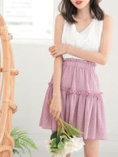 荷葉鬆緊腰頭純色立體紋理傘襬短裙