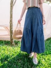 高含棉不規則拼接裙襬牛仔長裙