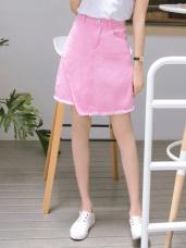 高含棉不規則剪裁抽鬚設計斜紋短裙