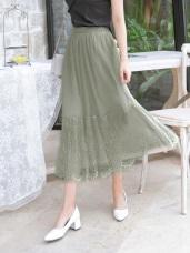 鬆緊腰頭下襬羽毛蕾絲拼接純色百褶紗裙