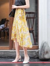滿版夏日印花魚尾拼接前短後長半身裙