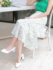 夏日印花鬆緊腰頭荷葉傘襬中長裙