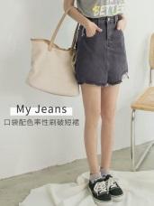 高含棉口袋造型下襬刷破設計牛仔短裙