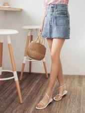 雙口袋造型剪接設計下襬抽鬚牛仔裙