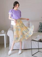 腰鬆緊水彩感印花皺皺面料中長裙