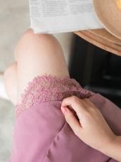 下襬蕾絲拼接交疊設計純色A字短裙