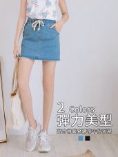 高含棉竹節紋理鬆緊綁帶牛仔短裙(褲型內裡)
