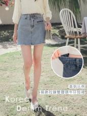 高含棉裝飾拉鍊排釦雙腰頭牛仔短裙(內裡襯褲)