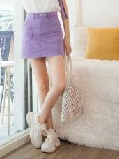 高含棉造型口袋純色A字褲裙