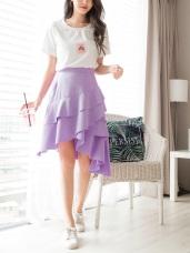 純色後腰鬆緊不規則層次拼接蛋糕裙