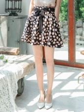 豹紋印花雪紡傘襬綁帶短裙 (褲型內裡)