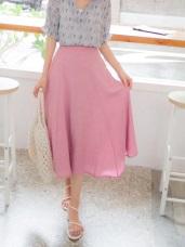 純色側邊排釦後腰鬆緊波浪長裙