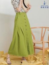 高腰打褶設計排扣開衩長裙((兩色)
