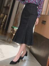 高含棉剪接設計後腰鬆緊牛仔魚尾長裙