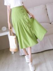木紋排釦開衩設計純色打褶A字中長裙