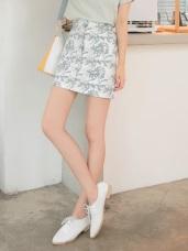滿版渡假印花假開衩設計修身短裙/窄裙