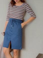 高含棉腰鬆緊綁帶排扣下擺開衩中長裙