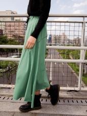 潮流風腰鬆緊綁帶造型下襬長裙