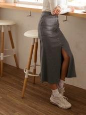 高含棉腰鬆緊排釦造型下襬開衩長裙