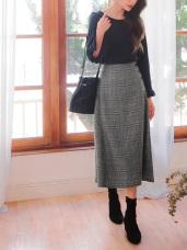 知性風格紋側邊排釦長裙