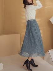純色腰鬆緊格紋透紗澎澎中長紗裙