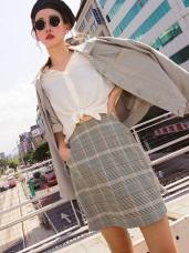 知性風格配色復古格紋窄裙