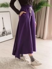 高含棉不規則垂墜下襬腰鬆緊綁帶長裙