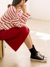 腰鬆緊開衩下襬純色長窄裙