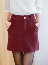 素色燈芯絨美型褲裙