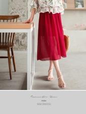 腰圍鬆緊飄逸感純色一片式透紗長裙