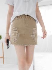 素雅百搭~刷色牛仔破損感立體剪裁短裙.8色