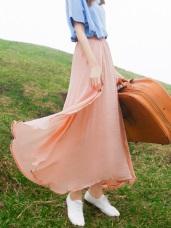 腰圍鬆緊純色飄逸雙層紗設計長裙.5色
