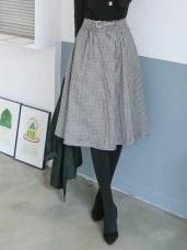格紋/素色斜紋腰帶及膝A字裙.3色