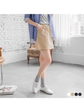 純色水性彈性鬆緊A字短裙.4色