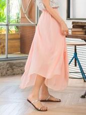 純色不規則下擺設計雪紡紗裙.4色