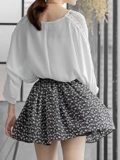 滿版碎花鬆緊微澎百褶短裙.2色