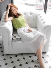 純色質感壓紋面料過膝百褶裙.2色