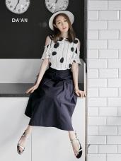 棉麻素色口袋造型打褶A字寬鬆長裙.4色