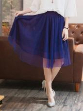 腰圍鬆緊不規則剪裁飄逸紗裙.4色
