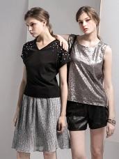 金屬光澤細褶傘擺裙.2色