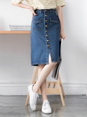 高含棉造型口袋牛仔排釦窄裙