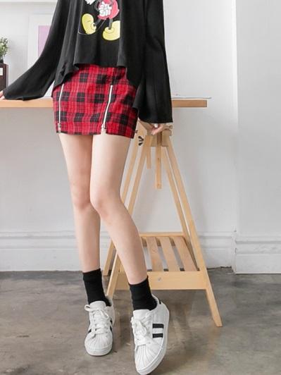 經典格紋包臀剪裁短裙.2色