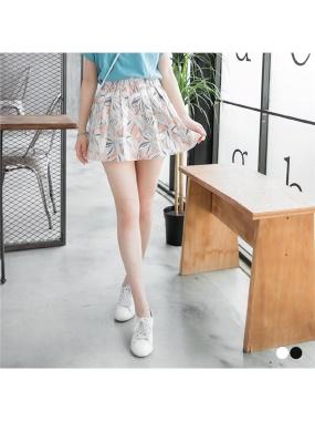 圖型配色腰鬆緊打褶微澎短裙.2色