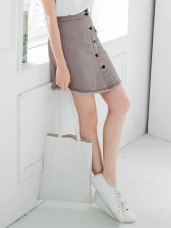 高腰排釦單邊口袋弧狀抽鬚下擺斜紋A字裙.2色