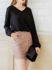 排釦設計修身皮革窄裙